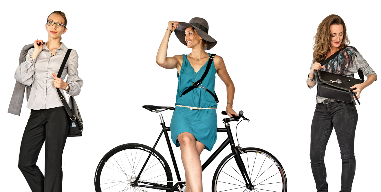 Le sac à main en cuir pour cycliste urbaine : Le sac messenger de Lady Harberton porté dans plusieurs situations