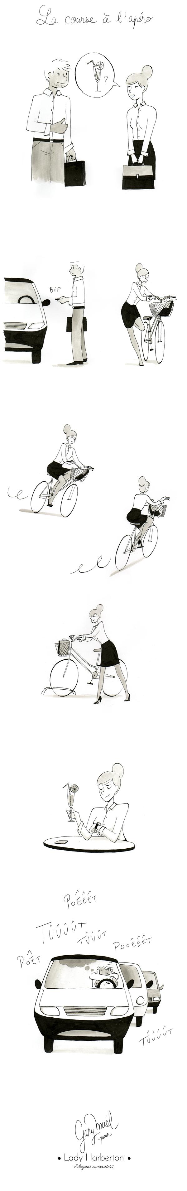 dessin de la course à l'apéro entre une voiture et un vélo par Gary Maël pour Lady Harberton
