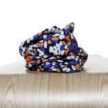 Echarpe blanche bleue et orange en laine mérinos Lady Harberton