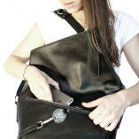 sac à main en cuir noir Lady Harberton Le Messenger