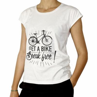 Tee-shirt femme velo get a bike break free Lady Harberton
