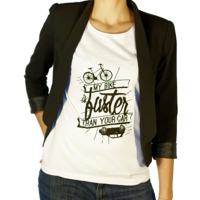 Tee-shirt femme velo my bike is faster than your car Lady Harberton