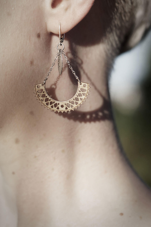 bijoux en bois boucle oreille femme fabriqué en france