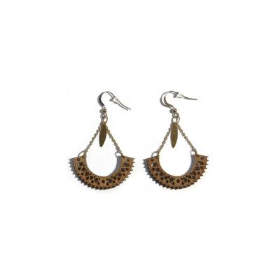 boucles d'oreilles dorées en bois Lady Harberton x bewood