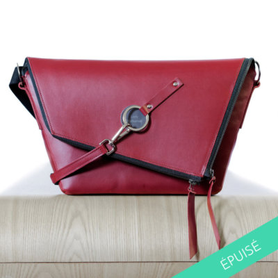 sac messenger en cuir made in france couleur bordeaux lady harberton