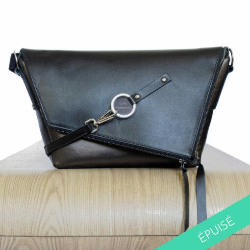 sac à main en cuir noir et bronze le messenger Lady Harberton