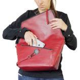 sac à main en cuir bordeaux Le Messenger Lady Harberton téléphone