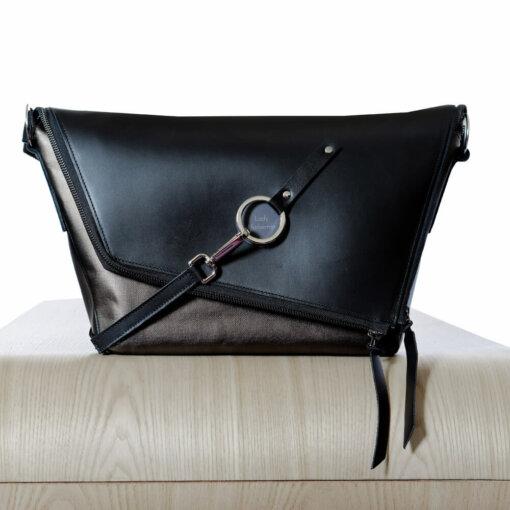 sac à main en cuir noir et bronze Le Messenger Lady Harberton vue de face