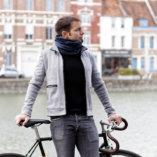 echarpe snood laine merinos bleue homme Lady Harberton vélo