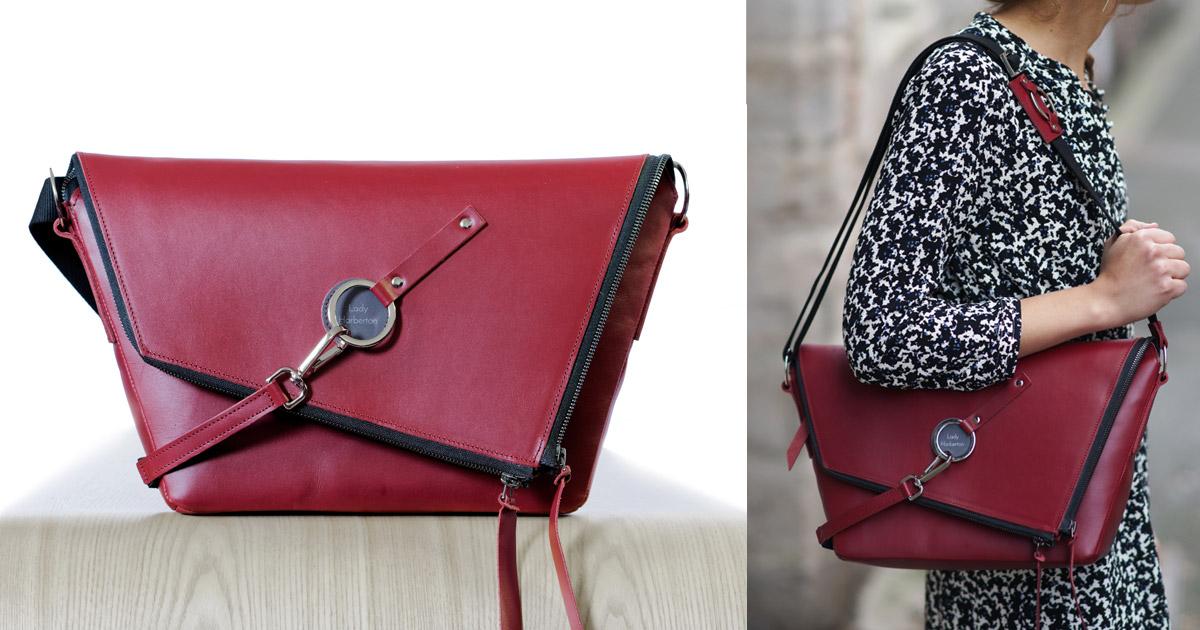 style de la mode de 2019 nouvelles variétés nouveau style et luxe Le Messenger en cuir Bordeaux ✦ Lady Harberton