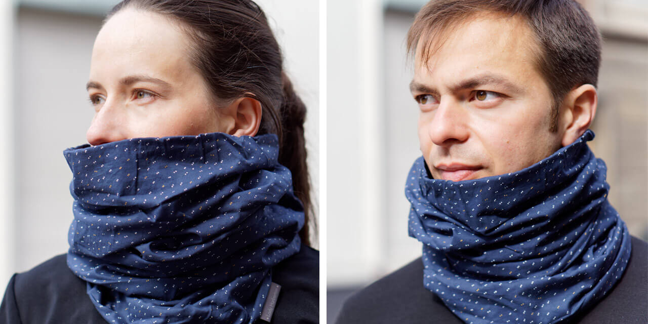 women and men merino wool snood scarf for urban cyclists Lady Harberton