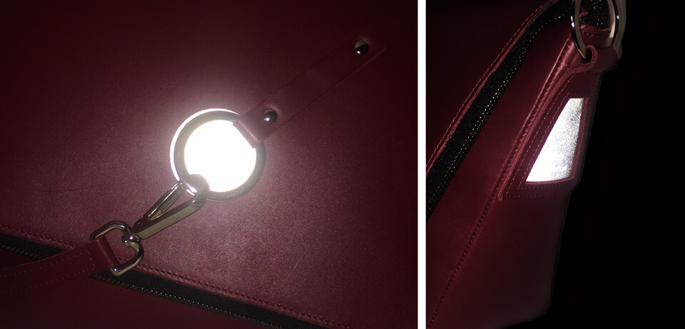 reflective labels burgundy messenger bag  Lady Harberton