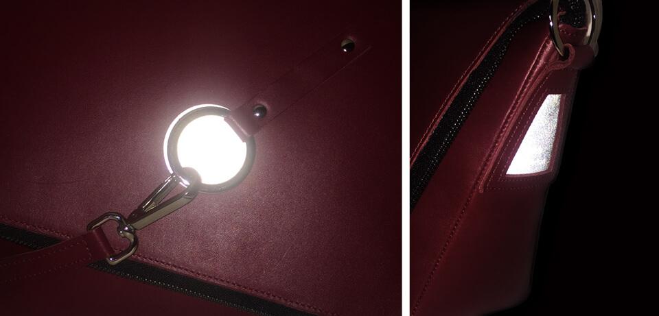 sac à main en cuir bordeaux haut de gamme élégant étiquettes réfléchissantes Lady Harberton