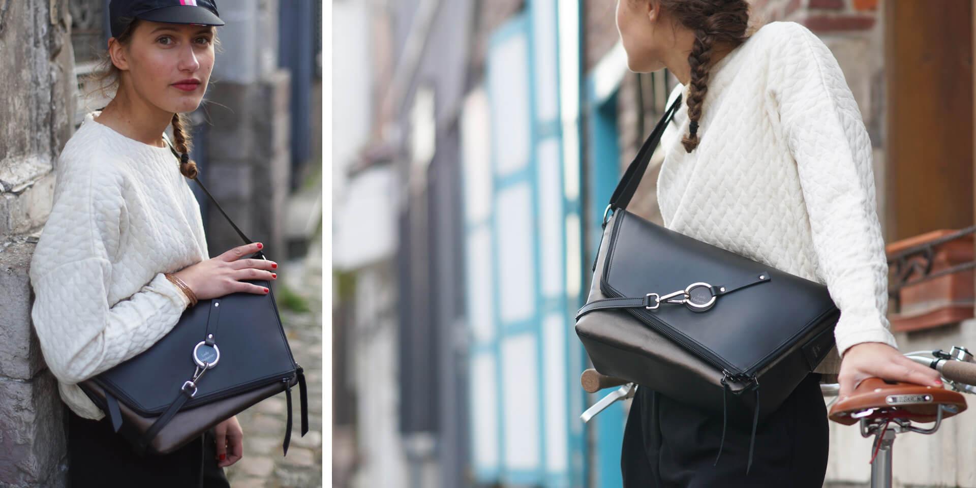 sac messenger sac à main en bandoulière en cuir noir et bronze Lady Harberton