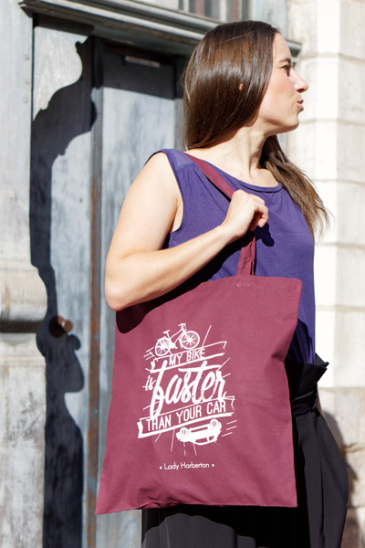 burgundy cotton Tote bag and white silkscreen printing Lady Harberton