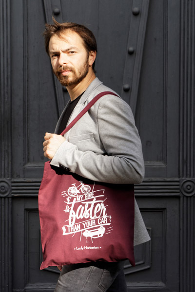 men cotton burgundy tote bag with white silkscreen printing Lady Harberton
