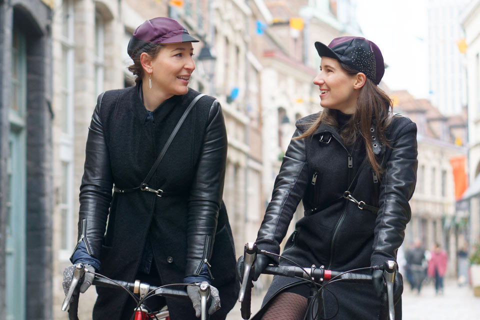 Céline from Vera Cycling and Lucile from Lady Harberton with the Lady Vera cap
