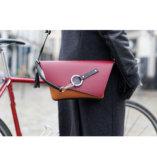 pochette en cuir Bordeaux, camel et Noir Lady Harberton vélo