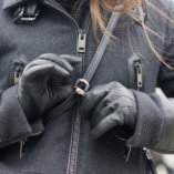 pochette en cuir noir lady harberton pour cycliste accroche