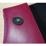 pochette en cuir noir et bordeaux lady harberton pour cycliste zoom