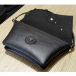 pochette en cuir noir lady harberton pour cycliste ouverte