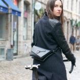 pochette en cuir noir lady harberton pour cycliste vélo