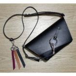 porte-clés cuir noir et bordeaux et camel Lady Harberton