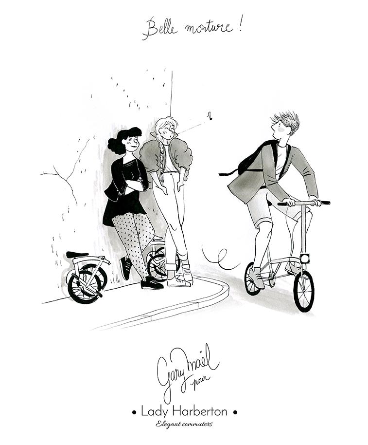 les filles aiment les beaux vélo dessin par gary mael pour Lady Harberton