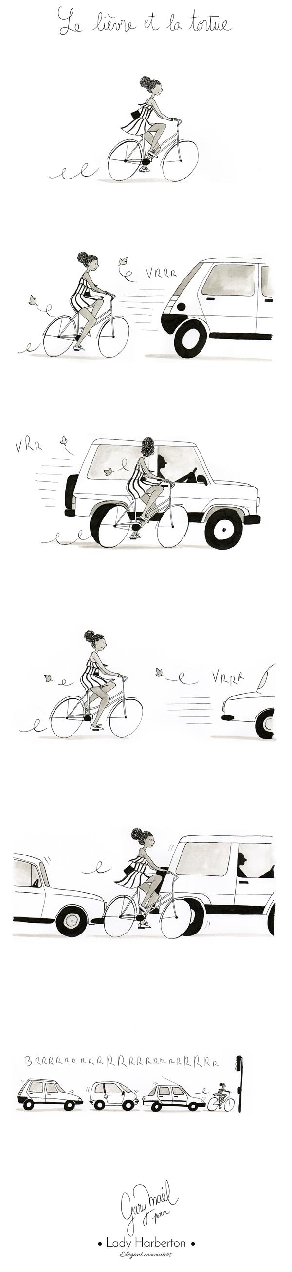 vélo en ville dessin par Gary Maël pour Lady Harberton