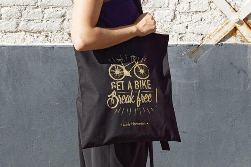 cadeau cycliste femme tote bag noir Lady Harberton
