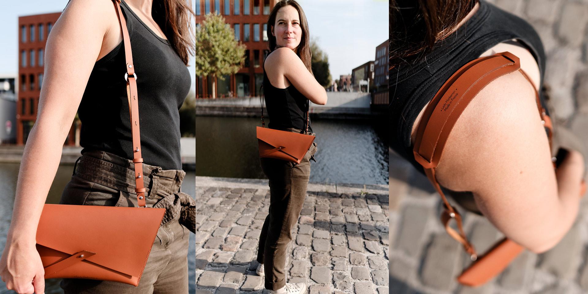 Pochette Lady Harberton sac bandoulière en cuir minimaliste fabriqué en France