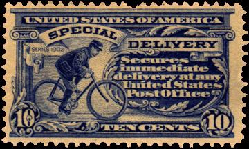Coursier à vélo Timbre postal américain, 1902