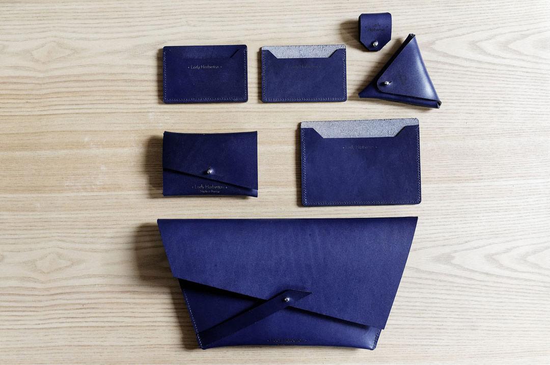 Sac Pochette couleur Bleu de Minuit Lady Harberton fabrication française