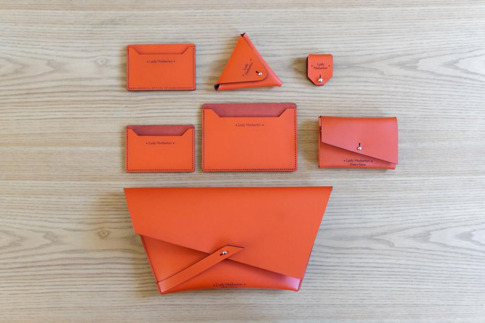 Sac Pochette  couleur Orange Solaire Lady Harberton fabrication française